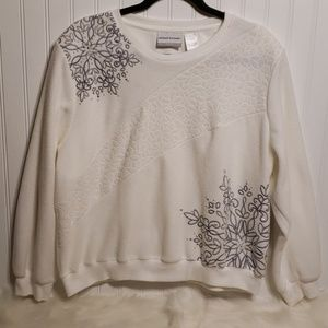 Alfred Dunner White Fleece With Silver Embroidery